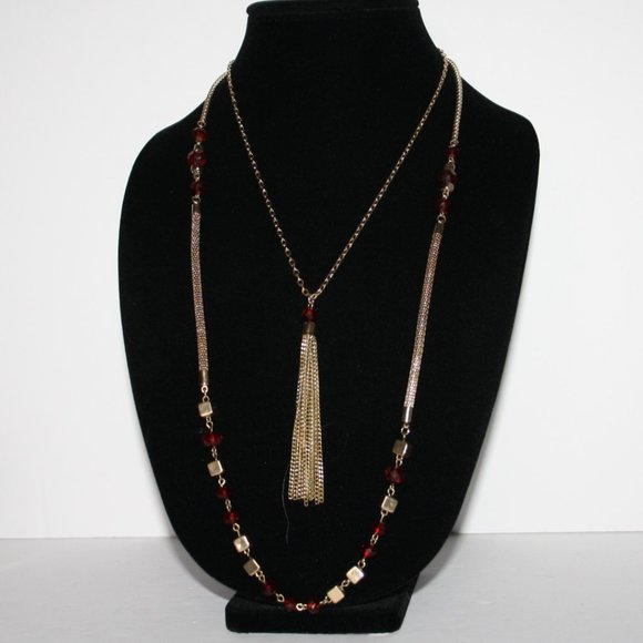 Vintagejelyfish Jewelry - Beautiful gold and red long tassel necklace 29""